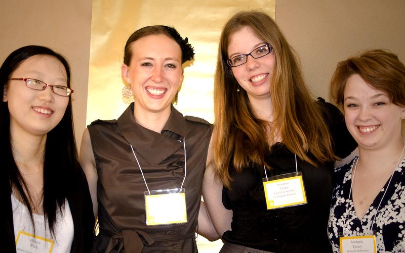 2012 Collegiate Scholar Award Winners - G. Wang, L. Mills, S. Carter, and Rhodes Dunlap Collegiate Scholarship Winner, Michaela (Katy) Kinney at the 2012 Recognition Ceremony
